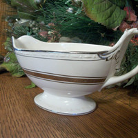 Gravy Boat by Craftsman Dinnerware Vintage Serving Dish White and Gold Art Deco Ceramic Tableware