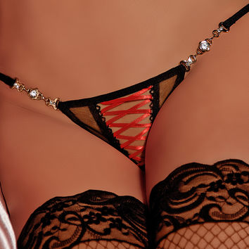 Timeless Elegance Lace Up Mesh G-string