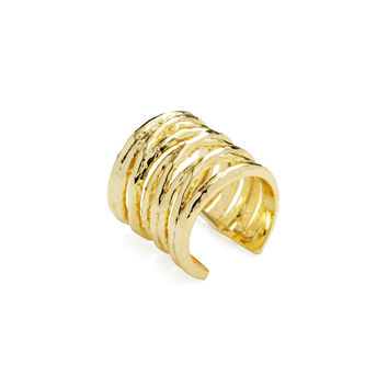Pixie Grey Women's Hammered Open Cocktail Ring - Gold -