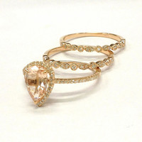 Diamond Wedding Ring Sets!Morganite Engagement Ring 14K Rose Gold,6x8mm Pear Cut Morganite,Art Deco Antique,Milgrain Stackable Matching Band