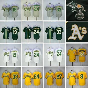 2017 Men's Throwback Oakland Athletics Jersey 33 Jose Canseco 9 Reggie Jackson 24 Rickey Henderson 19 Bert Campaneris Baseball Jerseys