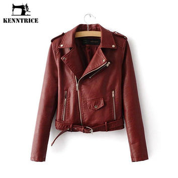 Winter Women Basic Jackets Faux Leather Jackets Black Blazer Zippers Coats  Motorcycle Outerwear Bomber Jacket