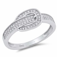 Sterling Silver 925 PRETTY BELT BUCKLE DESIGN CLEAR CZ RING 8MM  SIZES 5-10