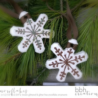 Natural Snowflake Christmas Ornaments handmade with Salt Dough in a Rustic Woodland Style