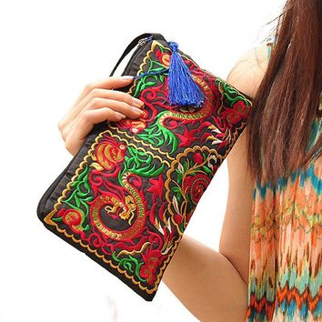 2017 Chinese Ethnic Style clutch wallet New Women Bag Handbag Purse National Retro Embroidered Flower Phone Change Coin M7-10