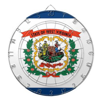 Dartboard with Flag of West Virginia, USA