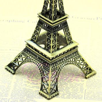 Alloy Model Decor 13cm Vintage Bronze Tone Paris Eiffel Tower Figurine Statue Sell Drop shipping