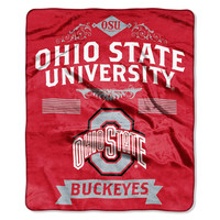Ohio State Buckeyes NCAA Royal Plush Raschel Blanket (Label Series) (50x60)