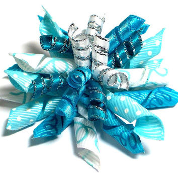 Dog hair bows, Dog Accessories in blues and white