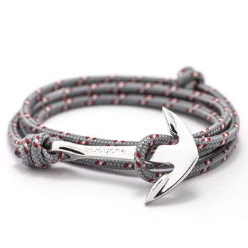 Silver Anchor On Gray & Red Rope Bracelet