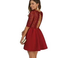 Burgundy Its Love Skater Dress