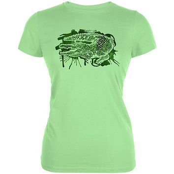 Alligator Swamp Water Splatter Juniors Soft T Shirt
