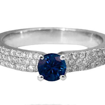 Engagement Pave Diamond Sapphire Ring 14K White Gold, September Birthstone