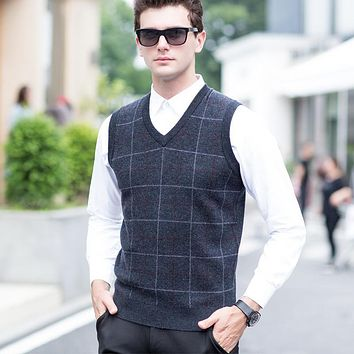 Wool Vest 2017 Autumn And Winter Wool Thick Plaid Vest Male Fashion Casual Pullover Sweater Men Sleeveless V-Neck Collar Vest