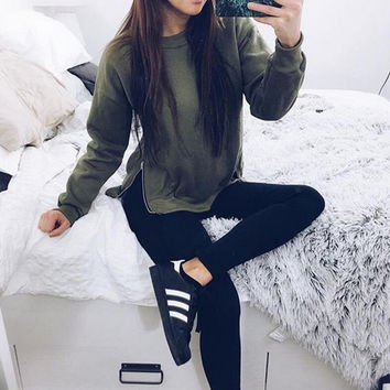 Green Long Sleeve Zippered Hem Sweatshirt
