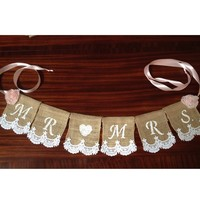 Mr and Mrs Burlap Lace Chair or Table Banner