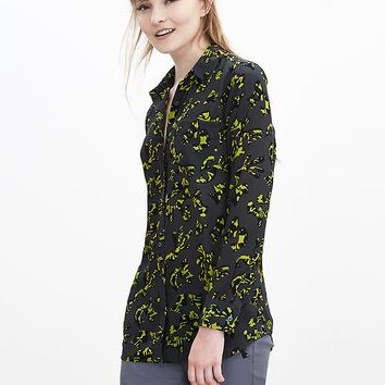 Banana Republic Pieced Silk Boyfriend Shirt