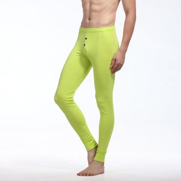 Men Buttons Pants Slim Long Johns Sleep Thermal Underwear Cotton Leggings Pants