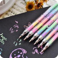 Cute Design Ink 6 Colors Highlighter Pen Marker Stationery Point Pen Colorful Stationery Writing Supply Girls Painting Pens