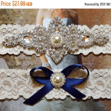 ON SALE Navy Wedding Garter, Crystal Bridal Garter Set, Vintage Inspired Wedding Stretch Lace Garter, Bridal Garter, Garter