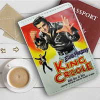 Elvis Presley King Creole Leather Passport Wallet Case Cover