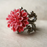 Red Flower Ring Adjustable Ring Silver Filigree by PiggleAndPop