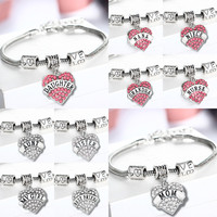 Mom Sister Daughter Grandma Nana Best Friend Heart Bracelet