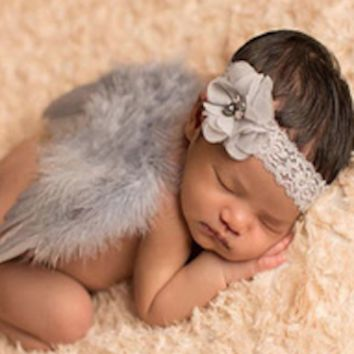 Baby Prop Angel Wings Grey Feathers and Matching Headband - CCW288
