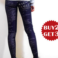 High Quality Hamlet Printed Pants,Summer Yoga Leggings, Womens Stretch Pants, Black Pants, Letter Pants, Workout Pants k182