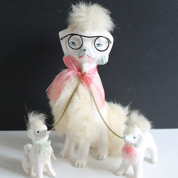 Cool Vintage Ceramic Poodle Family with Glasses, Ribbons, Fur / Adorable Mom and Pups on Chain / Made in Japan 1950s Classic Kitsch Gift