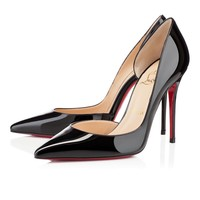 Cl Christian Louboutin Iriza Black Patent Leather 100mm Stiletto Heel Classic - Best Online Sale
