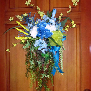 front door wreath, blue and white hydrangea swag, spring, summer wreath
