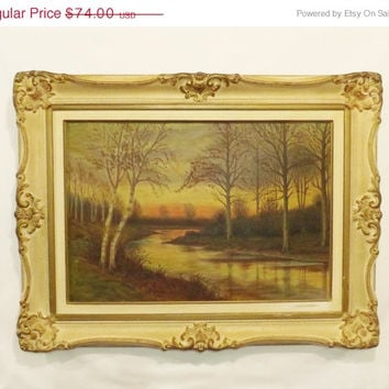 Vintage Sunset Landscape Oil Painting, Framed Autumn Landscape Painting signed by the Artist, 28 by 21 inches