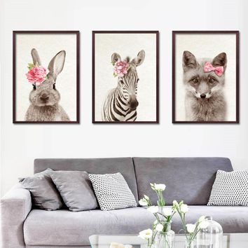 Cute Animals With Flowers Wall Art Poster Rabbit Print Nordic Bunny Picture Kids Baby Girls Room Home Decor GF0089