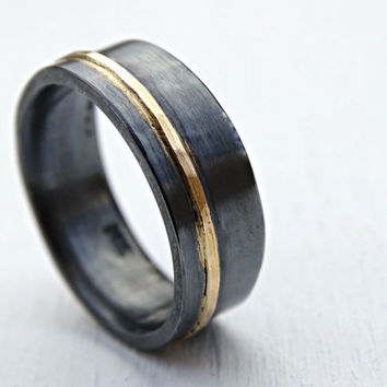 mens wedding band gold silver wedding ring black silver, gold silver ring two tone, mixed metal ring viking wedding band, artisan gold ring