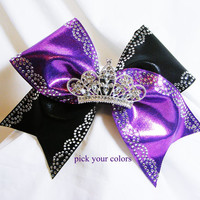 Cheer bow- Princess cheer bow tiara crown with rhinstones pick your own colors-cheerleader bow, cheerleading bow, cheerbow, softball bow,