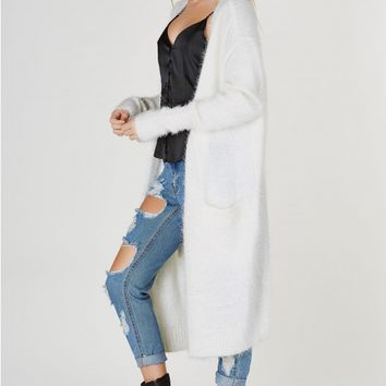 Fuzzy Feels Long Open Cardigan