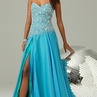 Strapless Long Prom Dress with Stone Bodice and Side Slit Skirt