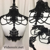 Gothic Victorian Lace harness with adjustable velvet elastic