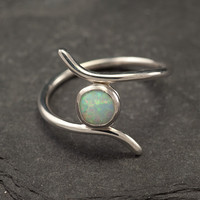 Opal ring- Silver Opal Ring- Sterling Silver Ring- Gemstone Ring- Modern Opal Ring- October birthstone- size 6.5, 7, 7.5, 8, 8.5