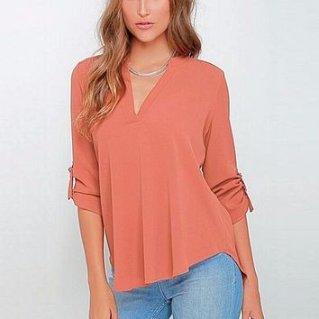 Women V-neck Long Sleeve Chiffon Blouse  Work Wear