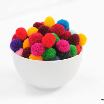 100 mix color Pom pom ball pompom yarn pom pom decoration decor handmade project supply