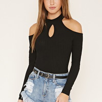 Ribbed Open-Shoulder Bodysuit