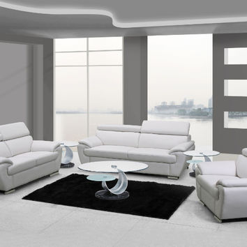 Global United 4571WH-2PC 2 pc Sheila collection modern style white genuine leather upholstered sofa and love seat set