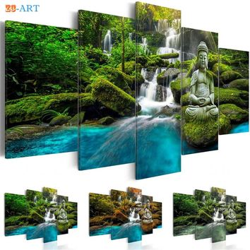 Buddha Statue  Waterfull Poster Canvas Art 5 Pieces Green Nature Wall Painting