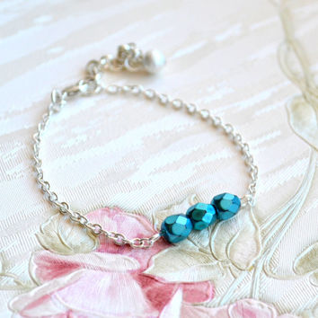 Bridesmaid bracelet Bridesmaid gifts Bridesmaid proposal Wedding jewelry Teal Bridesmaid jewelry Teal bracelet Bridal bracelet