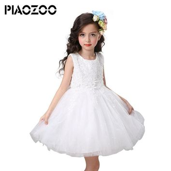 New kids princess wedding dresses Baby Girls Party Lace Tulle Gown tutu dress dreamlike dress up costume for kids Sundres P35