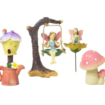 Juvale 4 Piece Garden Fairy Kit – Fairies Miniature Resin Figurines Statues with Accessories, Decorative Spring Flower Garden Ornaments for Outdoor, Lawn, Yard, Flower Pot, and Home Decoration