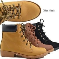 Women's Ankle Boots Lace Up Faux Combat Military Work Boot Style Faux Leather