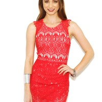 West Coast Wardrobe  Cherry Lips Crochet Dress in Red